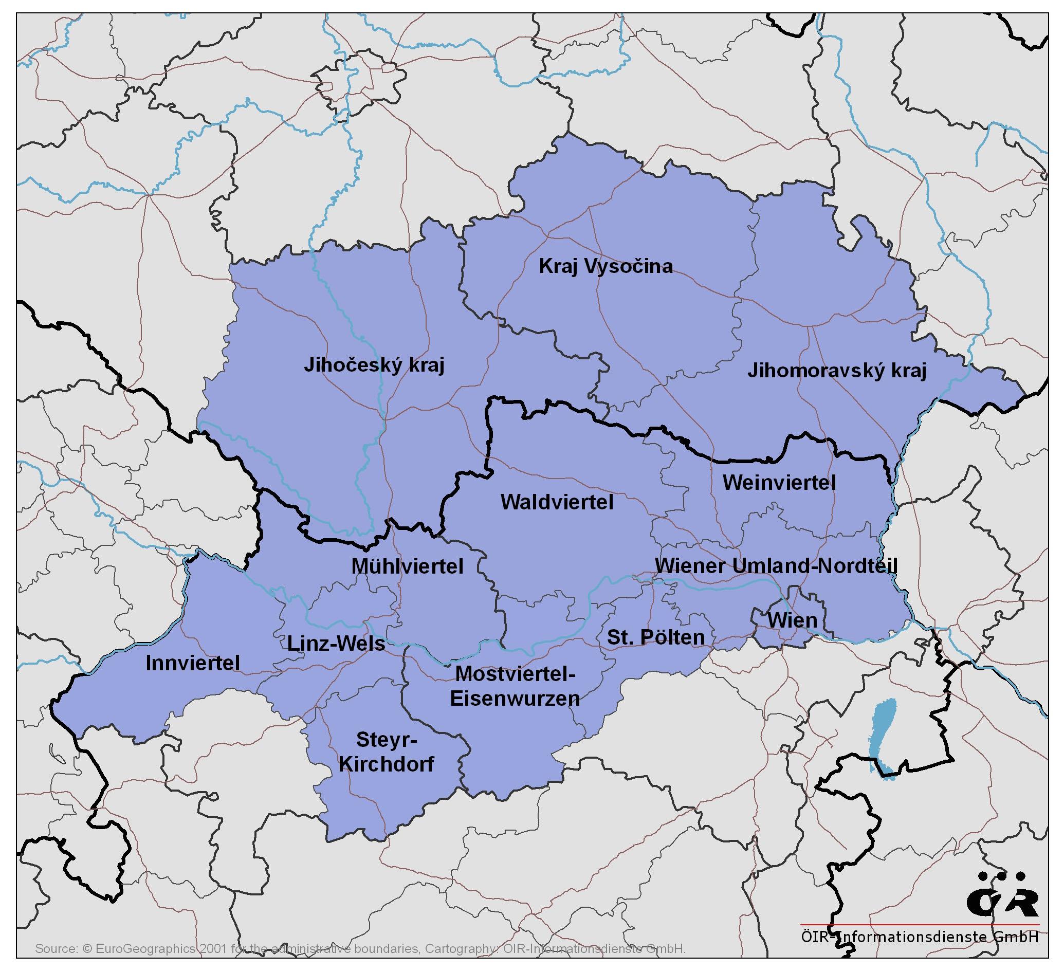 Mapa CR-Rakousko